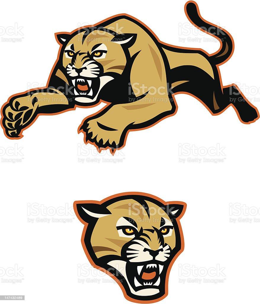 Leaping Cougar Mascot vector art illustration
