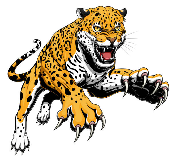 leaping jaguar - jaguar stock illustrations