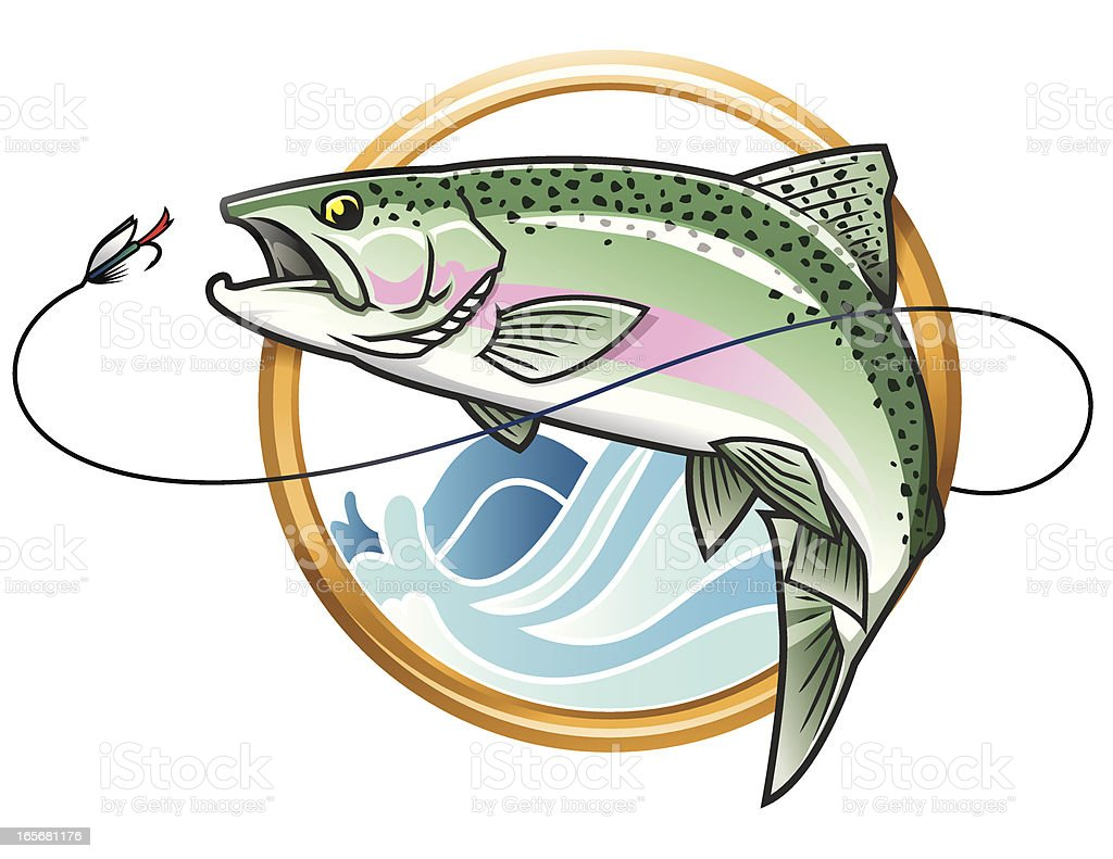 Leaping Rainbow Trout Icon vector art illustration