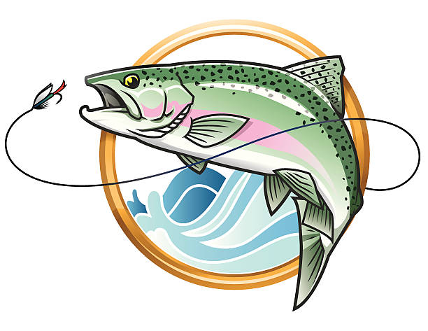 illustrazioni stock, clip art, cartoni animati e icone di tendenza di i salti trota iridea icona - trout