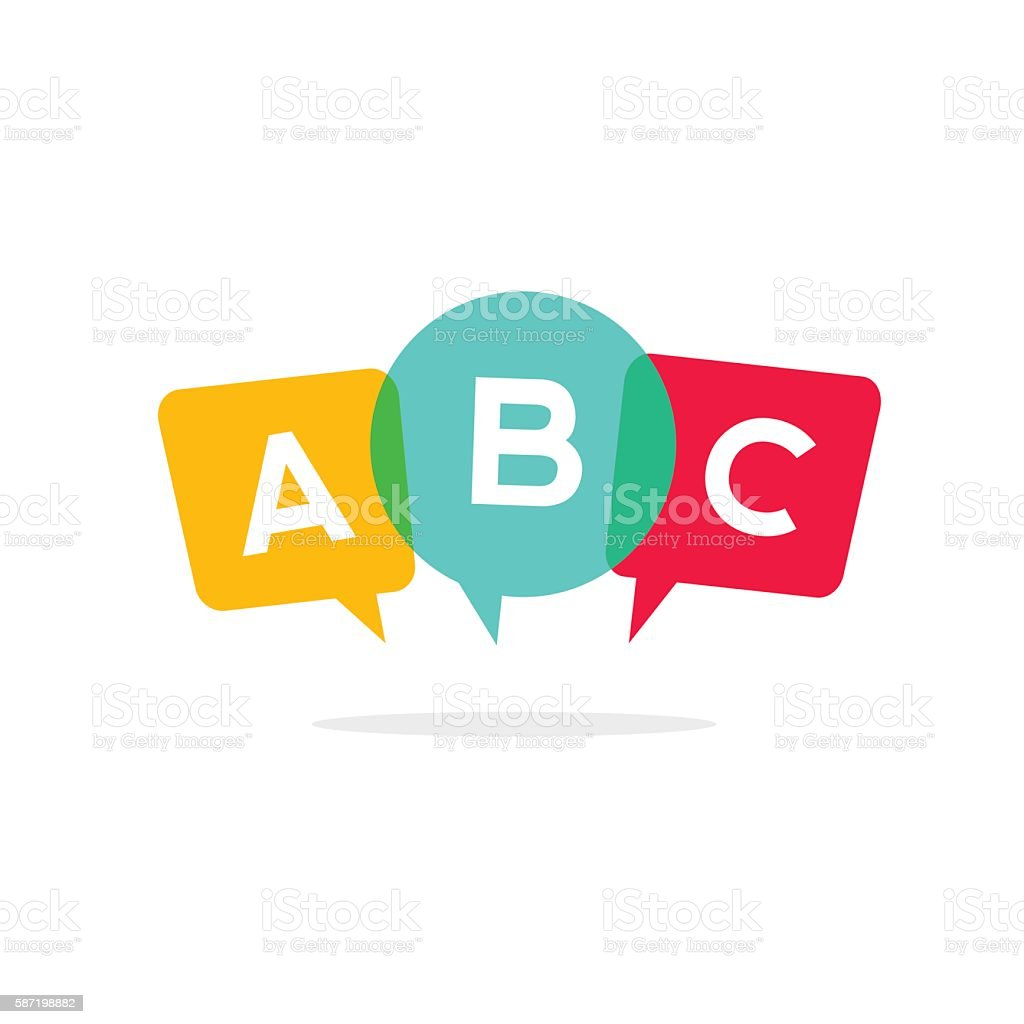 Learn ABC letters vector icon, child speaking conversation logo concept - Illustration vectorielle