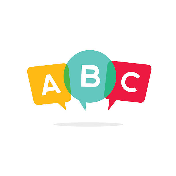 learn abc letters vector icon, child speaking conversation logo concept - language class stock illustrations, clip art, cartoons, & icons