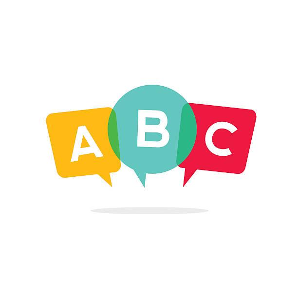 learn abc letters vector icon, child speaking conversation logo concept - englischlernende stock-grafiken, -clipart, -cartoons und -symbole