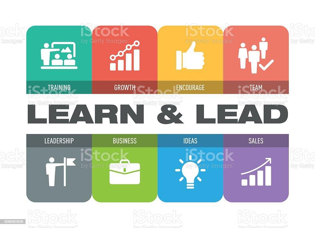 Learn and Lead Icon Set - ilustración de arte vectorial