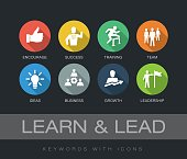 Learn and Lead chart with keywords and icons. Flat design with long shadows
