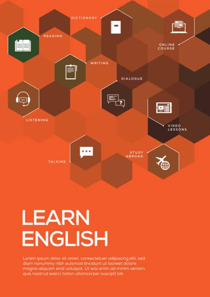 lernen sie englisch. broschüre vorlage layout, cover-design - englischlernende stock-grafiken, -clipart, -cartoons und -symbole