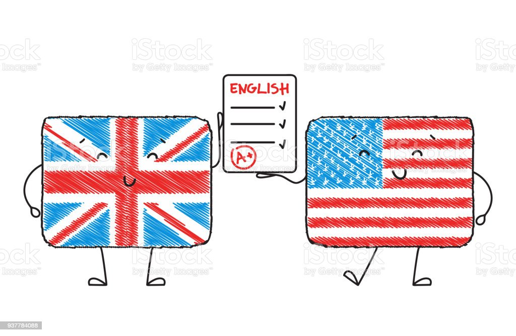 Learn English Cute Characters In The Form Of American And British