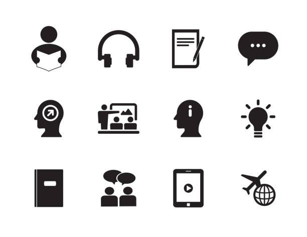 lernen englisch icon-set - reiseliteratur stock-grafiken, -clipart, -cartoons und -symbole