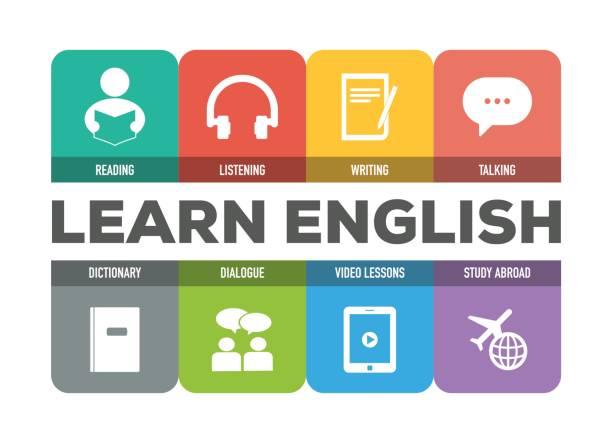 lernen englisch icon-set - englischlernende stock-grafiken, -clipart, -cartoons und -symbole