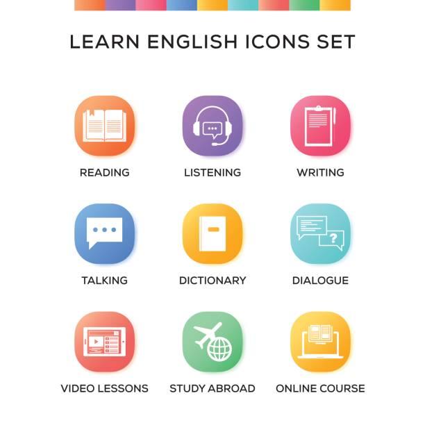 lernen sie englisch icons set auf verlaufshintergrund - englischlernende stock-grafiken, -clipart, -cartoons und -symbole