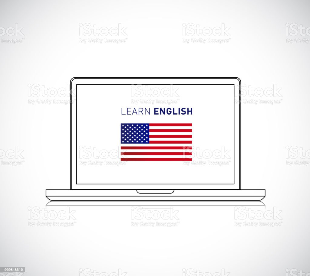 learn english online sign. Vector Illustration. vector art illustration