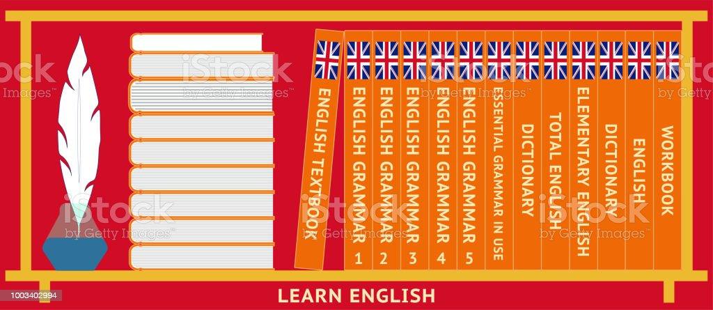 Learn English. Shelf with English textbooks. Dictionary, english grammar. Vector vector art illustration