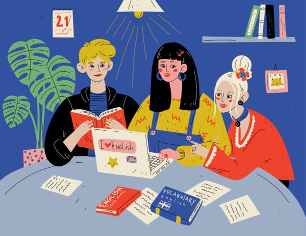 illustrations, cliparts, dessins animés et icônes de apprenez l'anglais. les étudiants étudient avec des livres. groupe de personnes dans la salle de classe. - formation des adultes