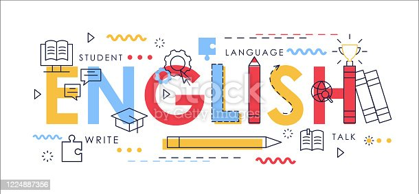 istock Learn English thin line vector illustration for website interface design, abstract flat English word with educational items, school knowledge education concept 1224887356