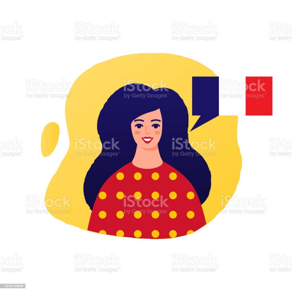 Learn French vector illustration, female character vector art illustration