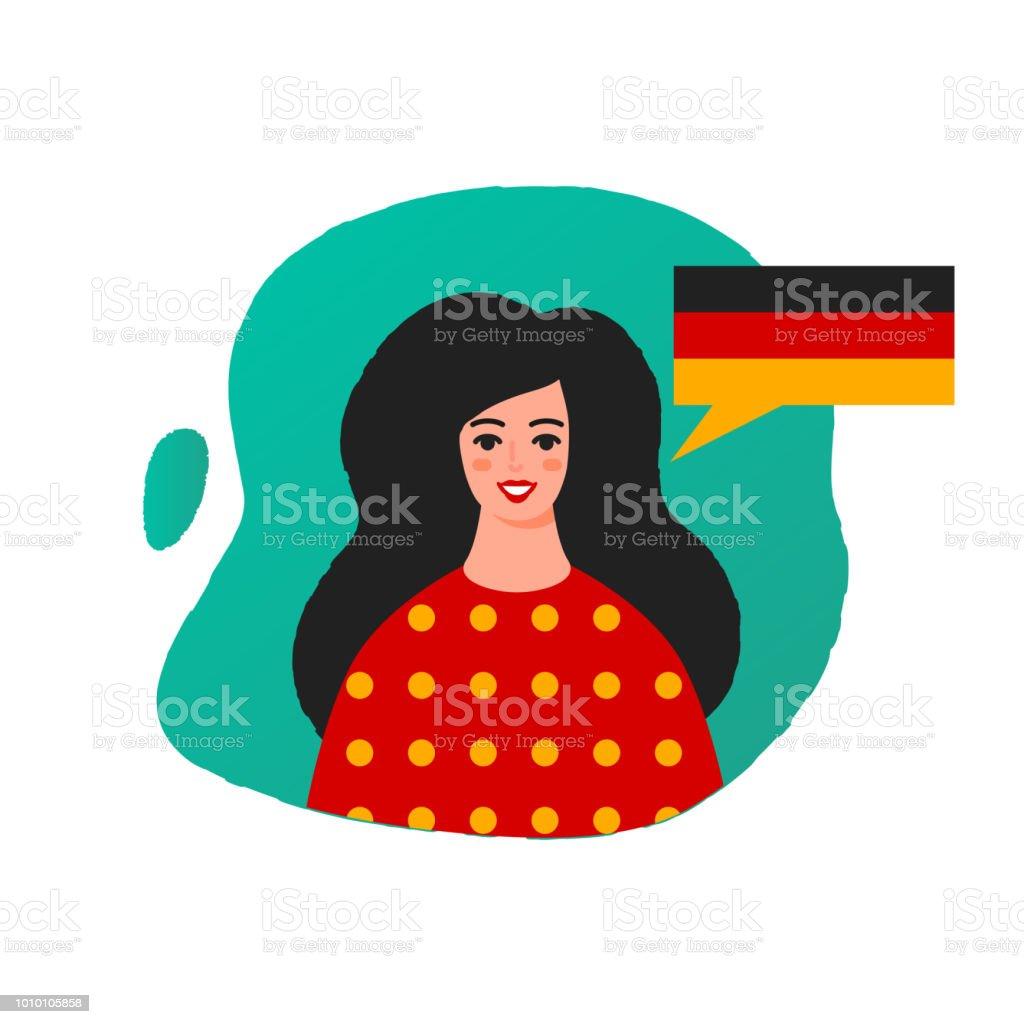 Learn German vector illustration, female character vector art illustration