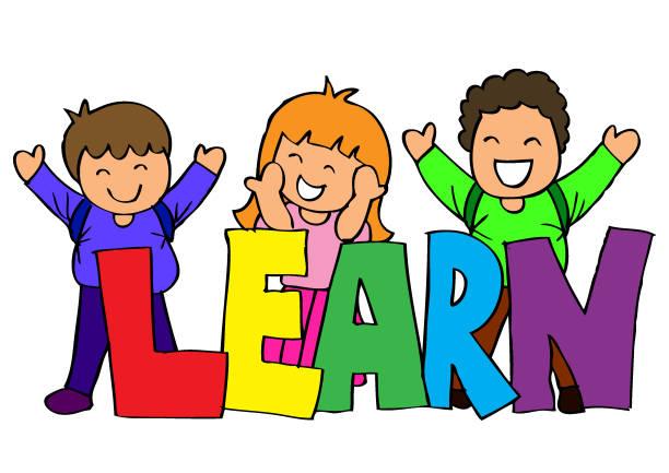 Apprendre les lettres de main avec enfants heureux - Illustration vectorielle