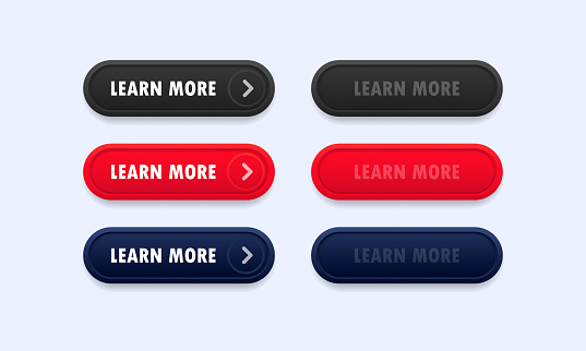 Learn more web site button set. Vector on isolated white background. EPS 10