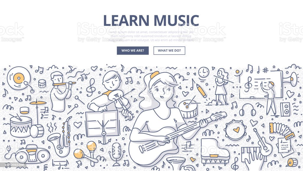 Learn Music Doodle Concept vector art illustration