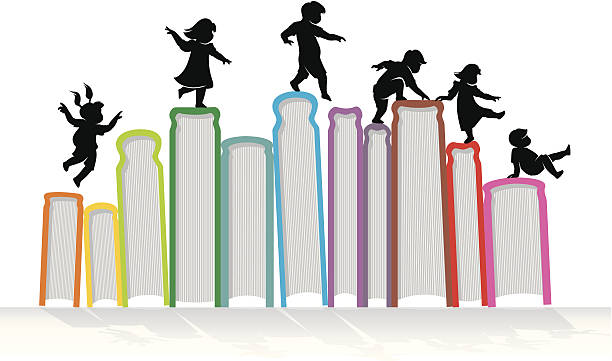 Learn & Play Children silhouette on top of upright books. Traced from my hand drawn sketch with high resolution jpg. More Education Series Lightbox book silhouettes stock illustrations