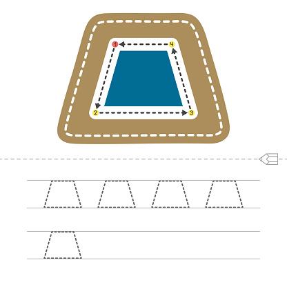 Learn shapes and geometric figures. Preschool or kindergarten worksheet for practicing motor skills. Tracing dashed lines. Vector illustration.