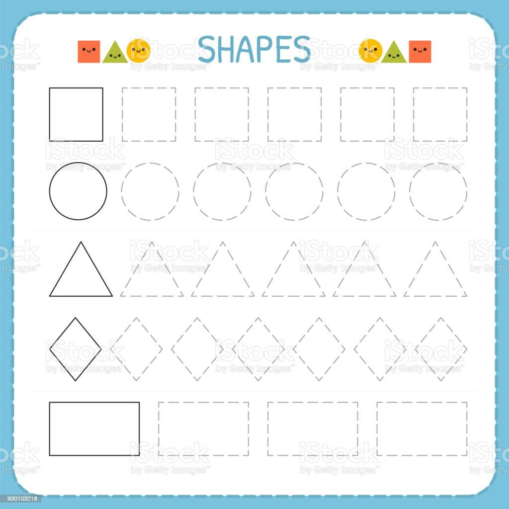 learn shapes and geometric figures preschool or kindergarten worksheet for practicing motor. Black Bedroom Furniture Sets. Home Design Ideas