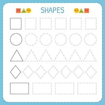 formen und geometrischen figuren zu lernen vorschule oder kindergarten arbeitsblatt zum ben der. Black Bedroom Furniture Sets. Home Design Ideas