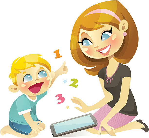 learn to count with tablet - chihhang stock illustrations