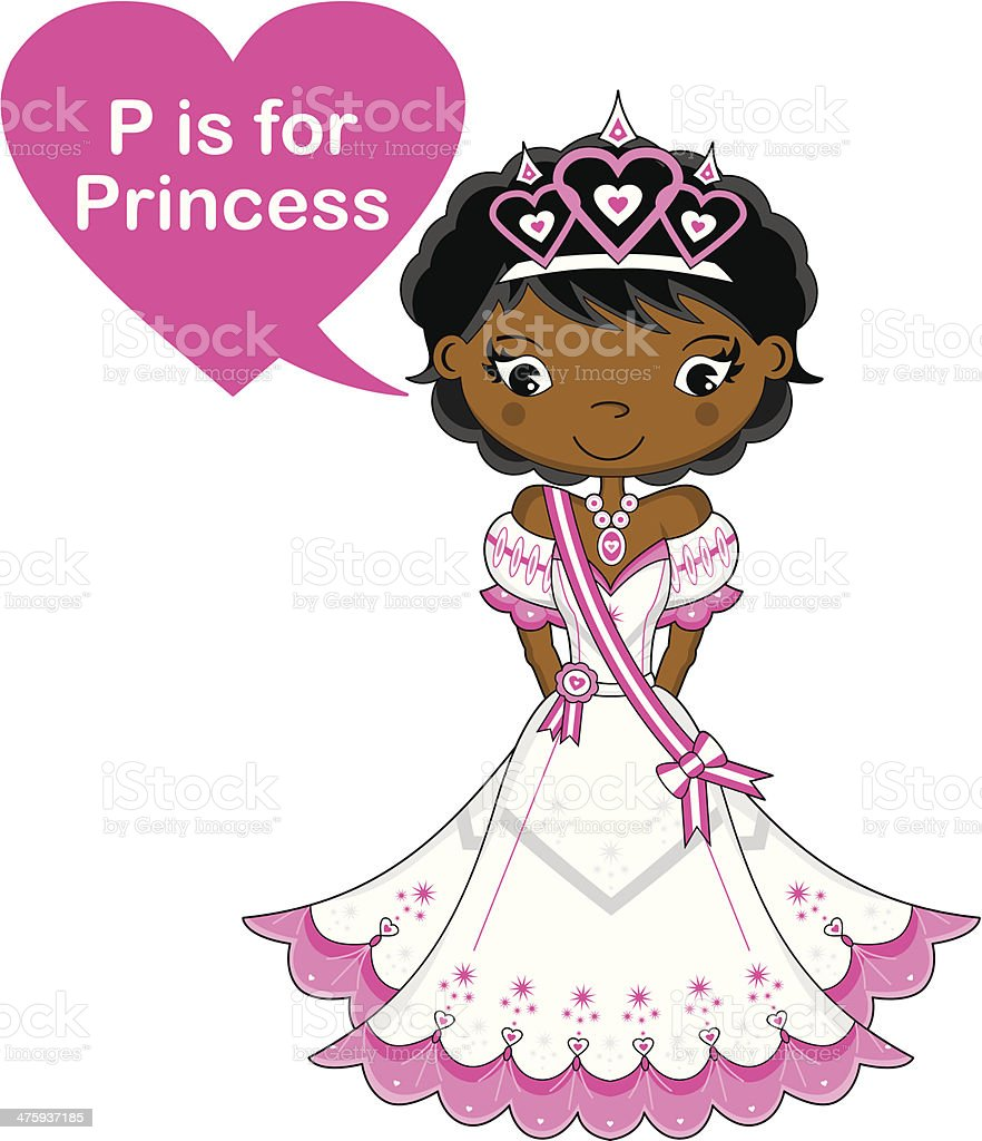 Learn to Read Princess Cartoon vector art illustration