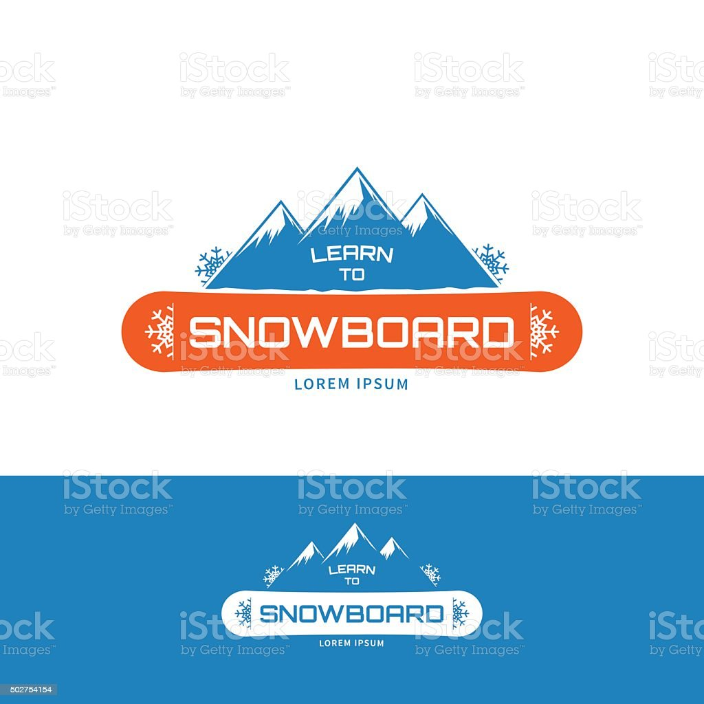 Learn to Snowboard vector art illustration