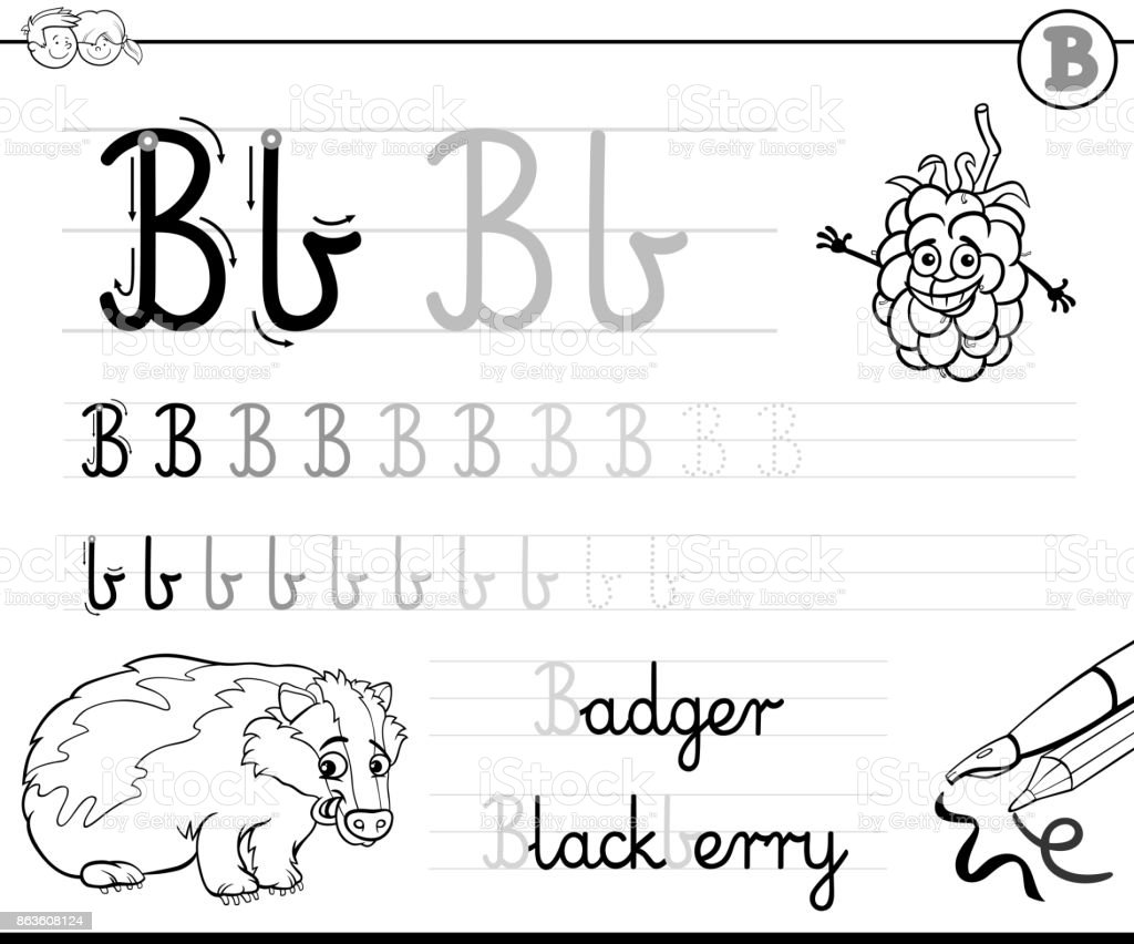 Ilustración De Aprender A Escribir El Libro De La Letra B