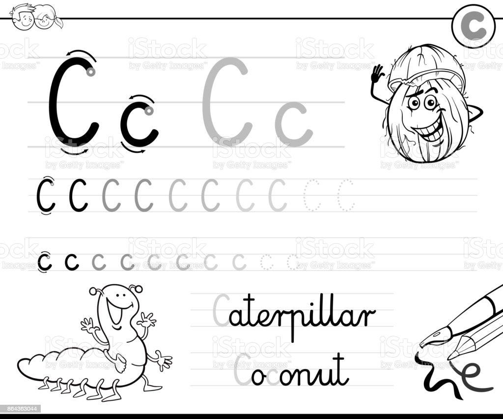 Buchstabe C Arbeitsmappe Für Kinder Schreiben Lernen Stock Vektor ...