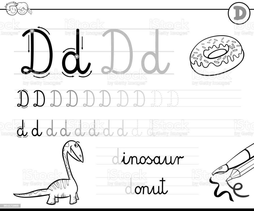 Buchstabe D Arbeitsmappe Für Kinder Schreiben Lernen Stock Vektor ...