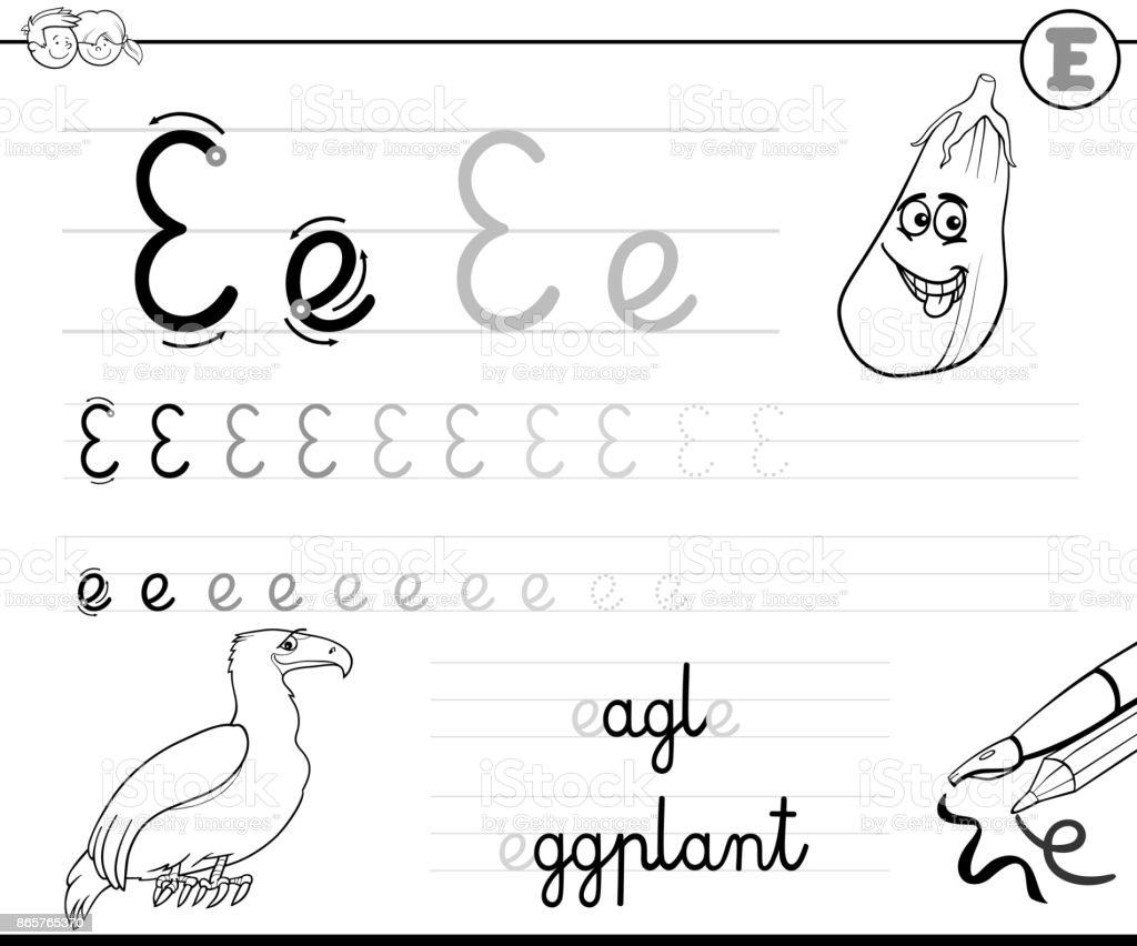Buchstabe Earbeitsmappe Für Kinder Schreiben Lernen Stock Vektor Art ...