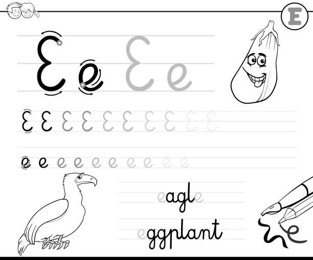 illustrations, cliparts, dessins animés et icônes de apprendre à écrire le classeur de la lettre e pour les enfants - enseignant(e) en maternelle