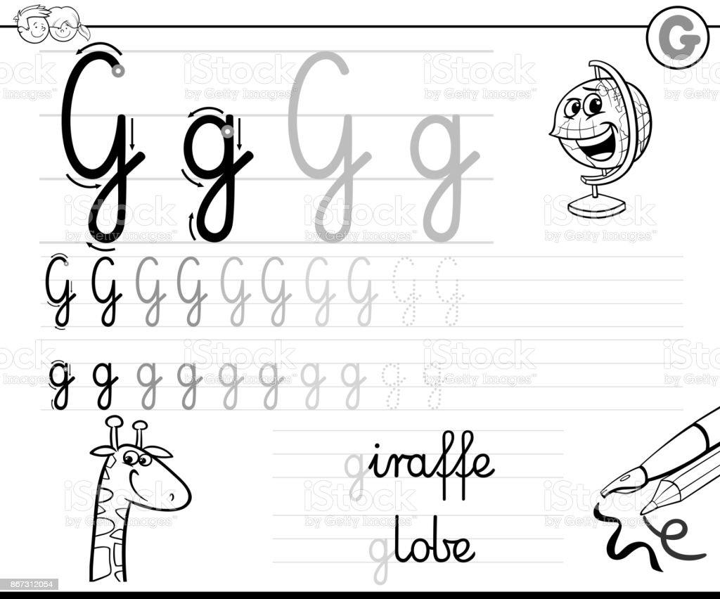 Buchstabe G Arbeitsmappe Für Kinder Schreiben Lernen Stock Vektor ...