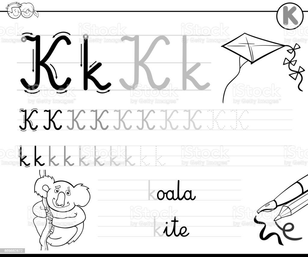 Ilustración De Aprende A Escribir Libro De Letra K Para