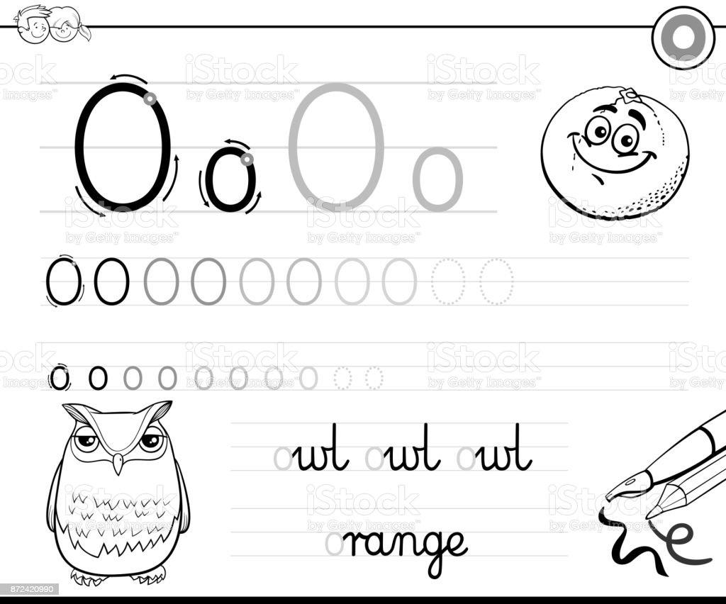 Buchstabe O Arbeitsmappe Für Kinder Schreiben Lernen Stock Vektor ...