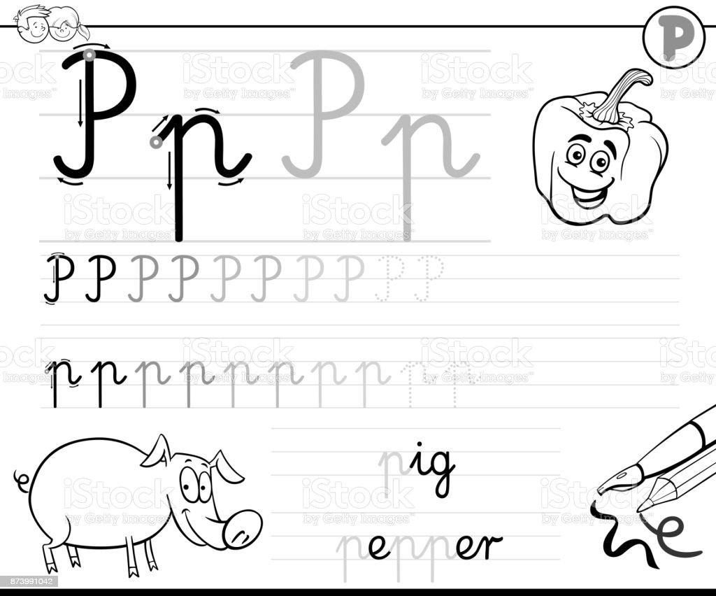 Buchstaben P Arbeitsmappe Für Kinder Schreiben Lernen Stock Vektor ...