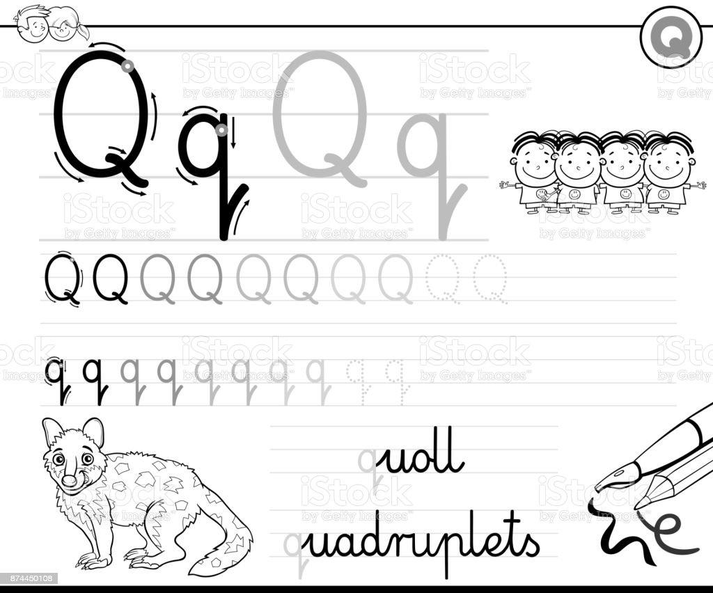Buchstabe Q Arbeitsmappe Für Kinder Schreiben Lernen Stock Vektor ...