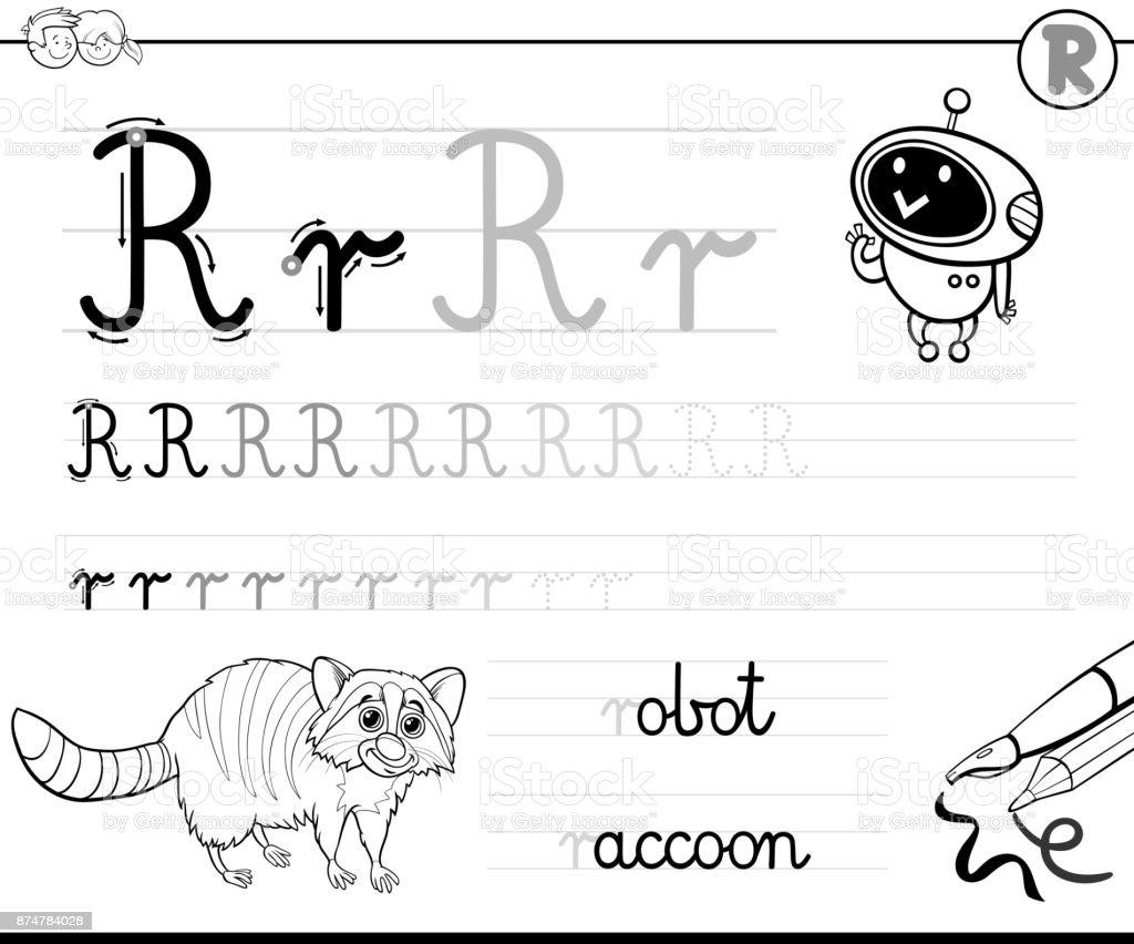 Buchstabe R Arbeitsmappe Für Kinder Schreiben Lernen Stock Vektor ...
