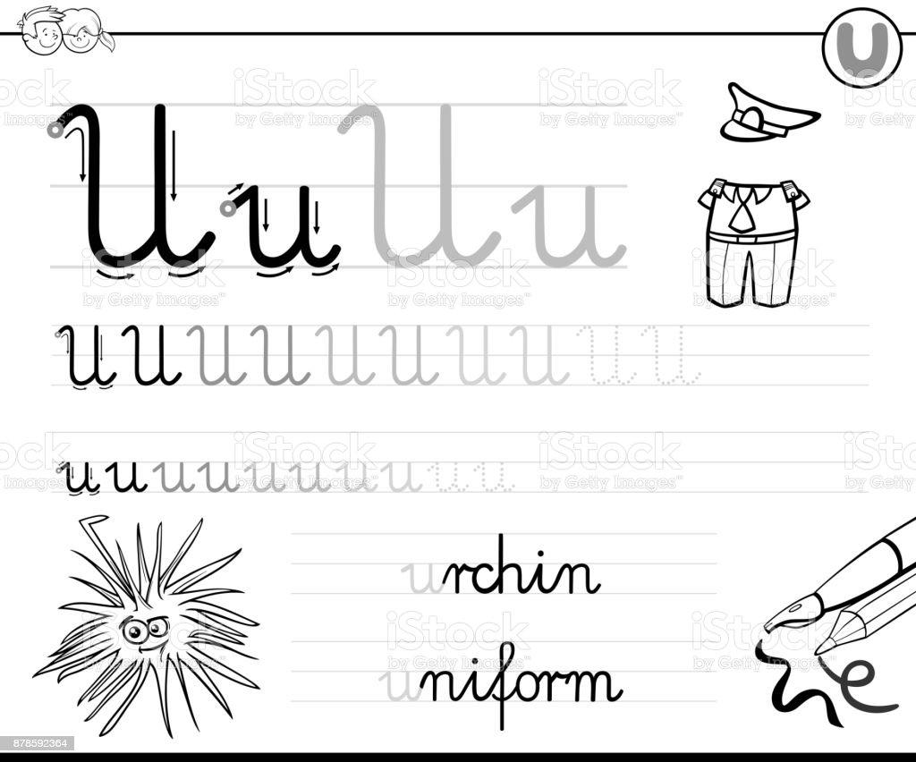 Buchstabe U Arbeitsmappe Für Kinder Schreiben Lernen Stock Vektor ...