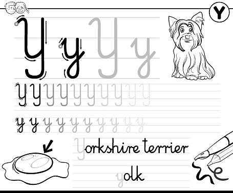 learn to write letter Y workbook for children