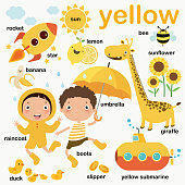 Learn yellow color, Educate color and vocabulary set, Illustration of primary colors, Vector illustration