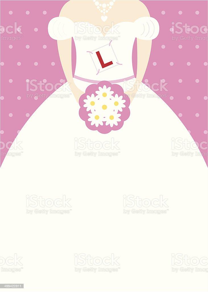 Learner Plate Bride Character vector art illustration