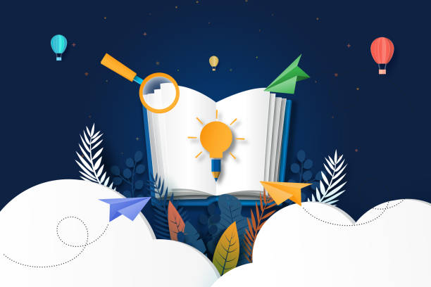 Learning and education concept paper art style. vector art illustration