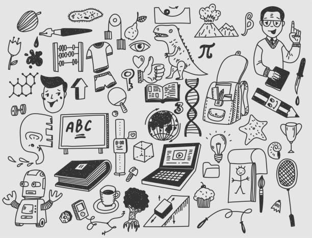 Lern-und Erziehungs-Hand zog Doodle-Schulartikel. – Vektorgrafik