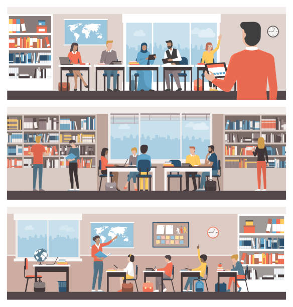 Learning and education vector art illustration