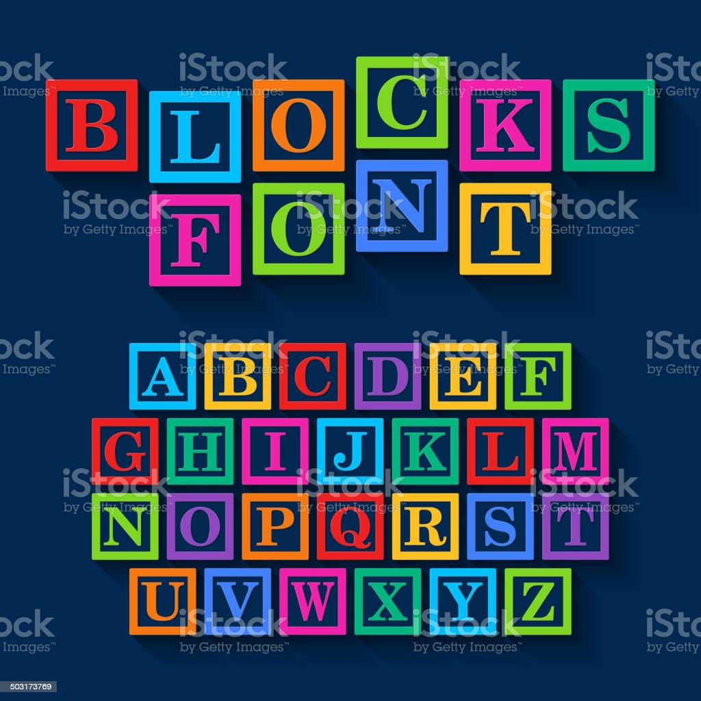 Bloques de aprendizaje diseño de tipografía - ilustración de arte vectorial