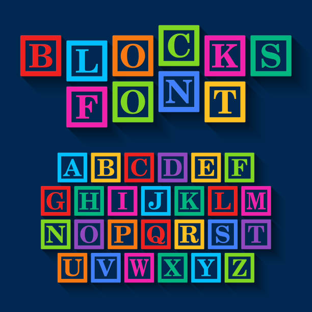 learning blocks font design - lego stock illustrations